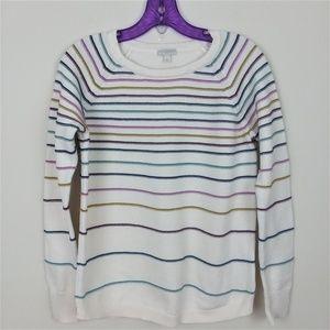 Talbots Off-White Multicolor Stripe Sweater Small